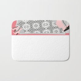 Haute couture retro high fashion crazy hat pink Bath Mat