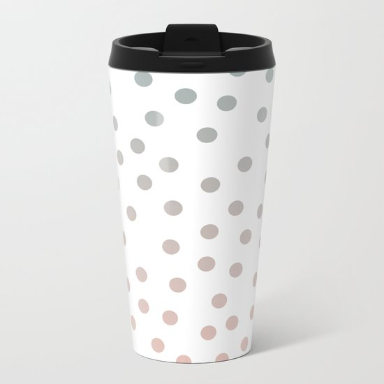 Simply Dots in Coral Peach Sea Green Gradient on White Metal Travel Mug