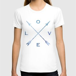 Watercolor Love Arrows Blue T-shirt