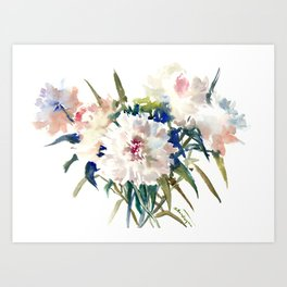White Peonies, Asian Watercolor design Garden Peonies White lofral art Art Print