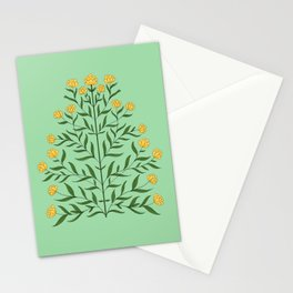 Indian Flower Motif Pattern - Illuminating Yellow & Green Ash Stationery Cards