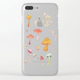 Mushroom Scientific Study Illustration Clear iPhone Case