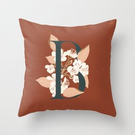 Letter B for Bergenia Throw Pillow