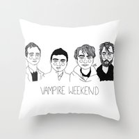 vampire weekend Throw Pillows featuring Vampire Weekend by ☿ cactei ☿
