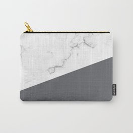 White Marble Pale Grey Carry-All Pouch