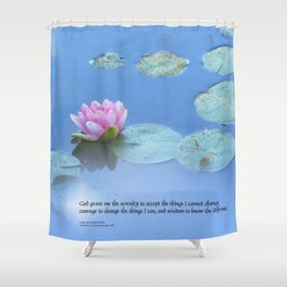 Serenity Prayer Pink Water Lily Shower Curtain