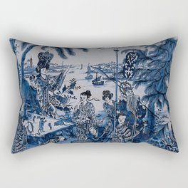 17th Century Delftware Chinoiserie Rectangular Pillow