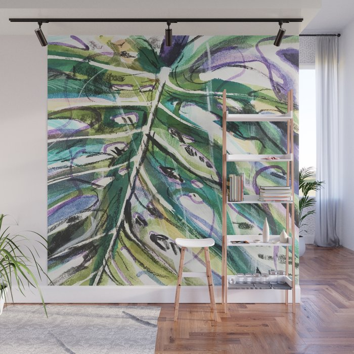 Monstera leaf Wall Mural