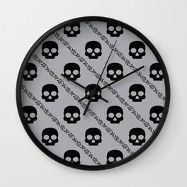 Skulls & Flowers - Silver V2 Wall Clock