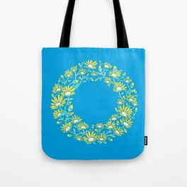 Floral Type - Letter O - Blue Tote Bag