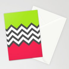 Color Blocked Chevron 5 Stationery Cards