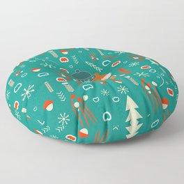 Cute fox waiting for Christmas Floor Pillow