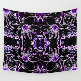 Neon Cherry Blossom Wall Tapestry