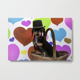 Black and Tan Dachshund Puppy Wearing a Top Hat in front of Valentine's Day Heart Background Metal Print