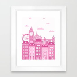 London Skyline Pink Framed Art Print