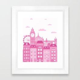 London Skyline Pink Framed Art Print