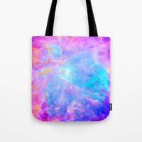 nebula Tote Bags featuring Orion nebulA : Bright Pink & Aqua by 2sweet4words Designs