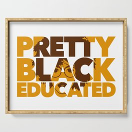 Pretty Black Educated African American College Woman Serving Tray