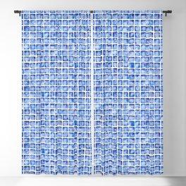 Royal Blue Watercolor Tile Pattern Blackout Curtain