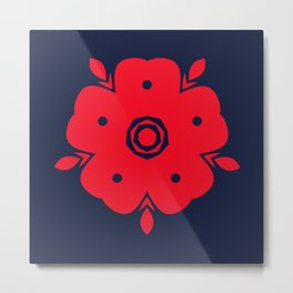 Japanese Samurai flower red pattern Metal Print