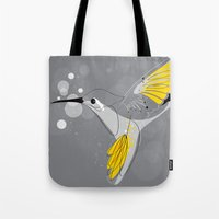 hummingbird Tote Bags featuring Hummingbird by Steph Dillon