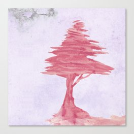 Red Tree watercolor on old paper Canvas Print