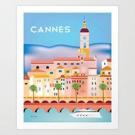 Cannes, France- Skyline Illustration by Loose Petals Art Print