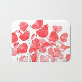 abstract red poppy field watercolor Bath Mat