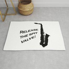 Release the Spit Valve! Saxophone Joke Rug