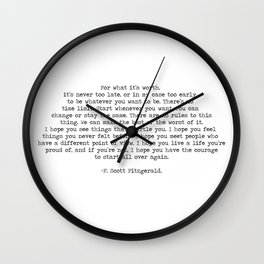 It's Never Too Late- F. Scott Fitzgerald Quote Wall Clock