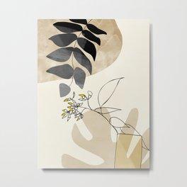 leaves minimal shapes abstract Metal Print