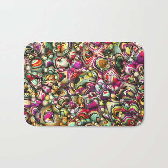 Colorful Abstract 3D Shapes Bath Mat
