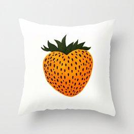 Golden Strawberry Heart Throw Pillow