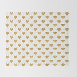 Love 2018 White - Golden heart Throw Blanket