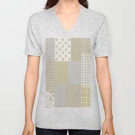 Modern Farmhouse Patchwork Quilt in Gray Marigold and Oatmeal Unisex V-Neck