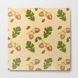 acorn and oak leaf pattern Metal Print