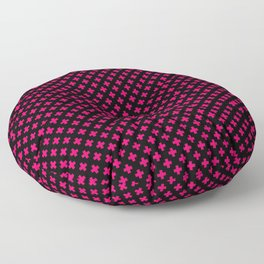 Small Hot Neon Pink Crosses on Black Floor Pillow