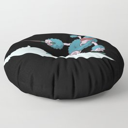 Poodle dog skiing Floor Pillow