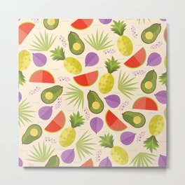 Tropical fruits Pattern - avocados and watermelons  Metal Print