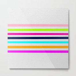 Modern neon colors geometrical whimsical stripes Metal Print