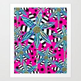 Pinwheel Flowers on Hot Pink Art Print