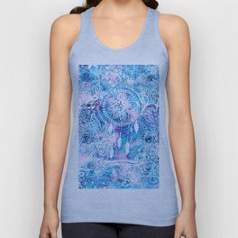 Mermaid blue turquoise watercolor boho dreamcatcher floral pattern Unisex Tank Top
