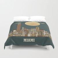 miami Duvet Covers featuring miami city  by bri.buckley