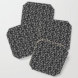 Festive Black and White Christmas Holiday Snowflakes Coaster