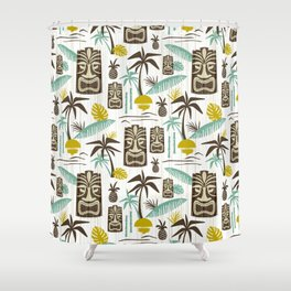 Island Tiki - White Shower Curtain