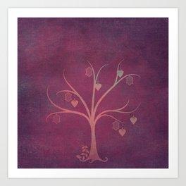 Grunge Garden Canvas Texture:  Winter Tree with Lanterns & Hearts Art Print