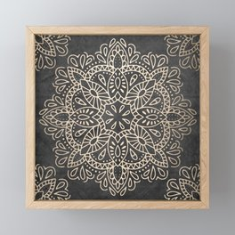 Mandala White Gold on Dark Gray Framed Mini Art Print