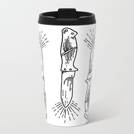 Knives Illustration Pattern Metal Travel Mug