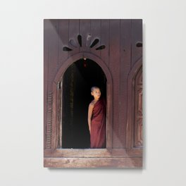 Student Monk   Temple at Inle Lake   Myanmar Travel photography Metal Print
