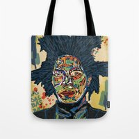 basquiat Tote Bags featuring BASQUIAT by Blaž Rojs